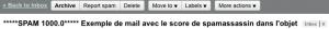 Exemple d'un email avec la note de Spamassassin dans l'objet