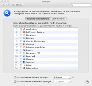 Image illustrant le menu de configuration de Spotlight