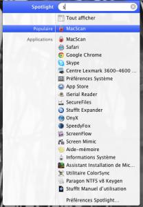 Spotlight configuré pour n'afficher que des applications