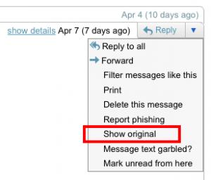 Exemple d'affichage des entetes d'un courriel sous Gmail