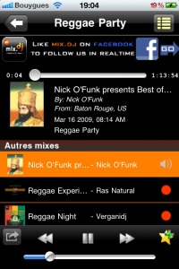 Screenshot du module reggae de mix.dj Lite pour iPhone