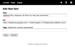 Exemple d'envoi d'un billet vers Read It Later depuis Google Reader