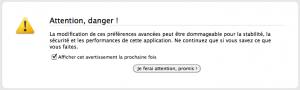 Avertissement about:config navigateur Firefox