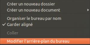 Menu de modification du background desktop sous Ubuntu