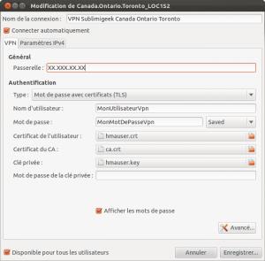 Ubuntu, fenêtre de configuration d'un compte VPN