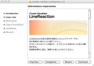 Étape d'installation d'un visualizer iTunes Wowloab