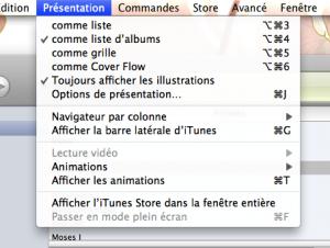 Menu permettant l'affichage des animations iTunes