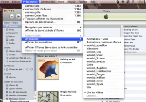 Sélection d'un visualizer avec iTunes