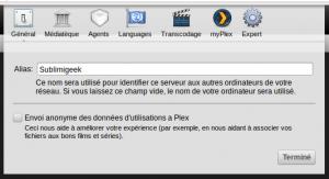 Exemple de paramétrage du serveur Plex