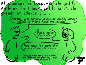 Illustration Geektionnerd à propos des éditeurs de texte sous GNU/Linux