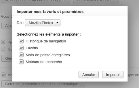 Fonction d'importation de données dans Chrome