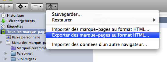 Exporter ses marques pages sous Mozilla Firefox et Mac OS X