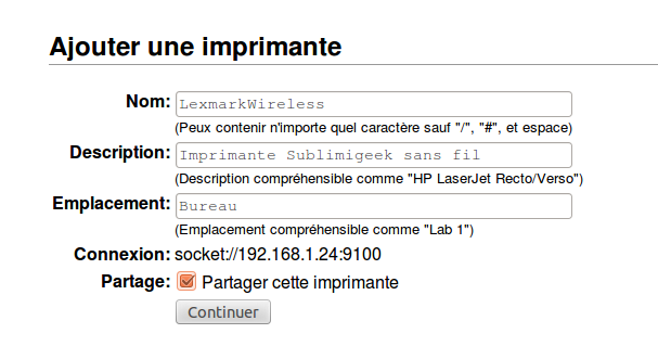 Attribution d'un nom à l'imprimante via le module CUPS