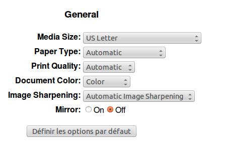 Choix des paramètres par défaut de l'imprimante