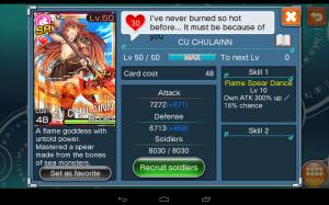 Cu Chulainn carte de niveau SR