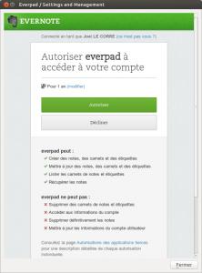 Everpad autorisation d'accéder à Evernote