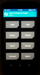 Liste des options du recovery TWRP